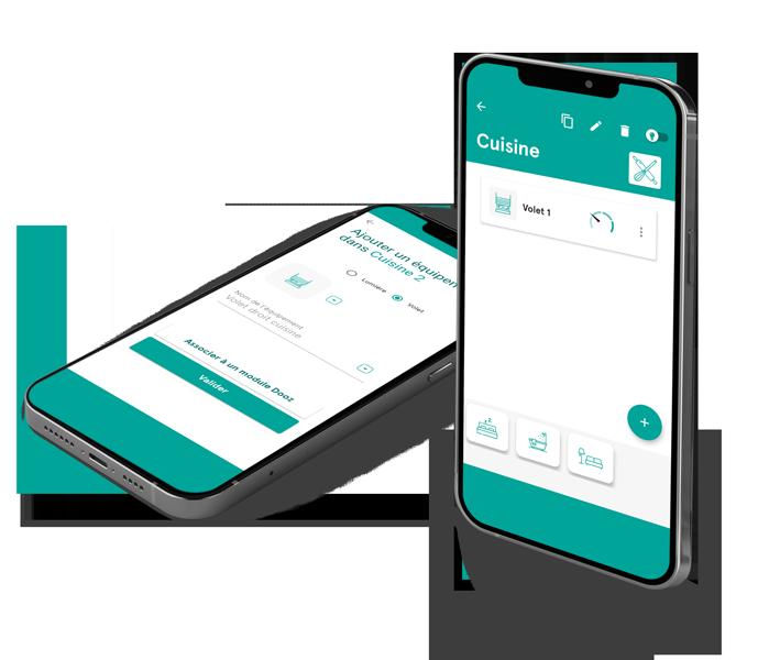 interface application =mobile Dooz pour la gestion des volets roulants